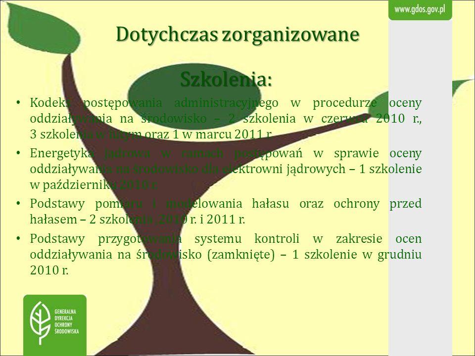 Dotychczas zorganizowane Szkolenia: Kodeks postępowania administracyjnego w procedurze oceny oddziaływania na środowisko – 2 szkolenia w czerwcu 2010