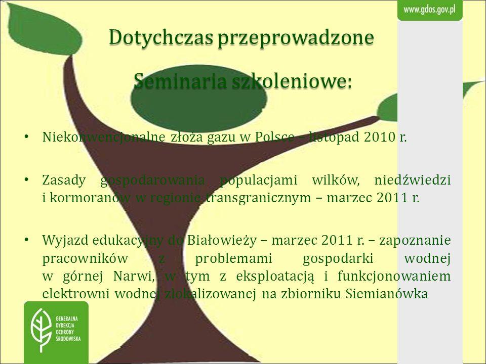 Dotychczas przeprowadzone Seminaria szkoleniowe: Seminaria szkoleniowe: Niekonwencjonalne złoża gazu w Polsce – listopad 2010 r. Zasady gospodarowania