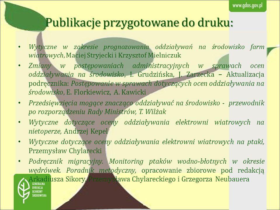 Publikacje przygotowane do druku: Wytyczne w zakresie prognozowania oddziaływań na środowisko farm wiatrowych, Maciej Stryjecki i Krzysztof Mielniczuk