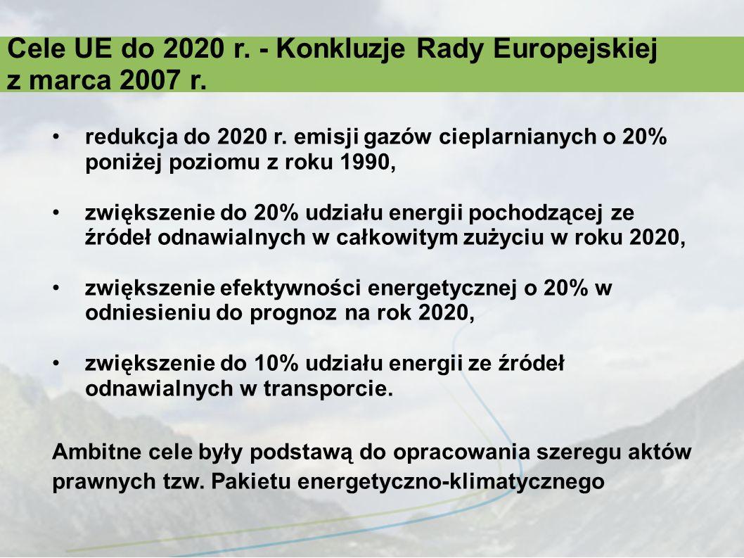 Akty prawne wchodzące w skład pakietu energetyczno-klimatycznego W skład pakietu energetyczno-klimatycznego wchodzą 4 akty prawne opublikowane w Dzienniku Urzędowym UE L 140 z dnia 5 czerwca 2009 r.: 1.Dyrektywa Parlamentu Europejskiego i Rady 2009/28/WE z dnia 23 kwietnia 2009 r.