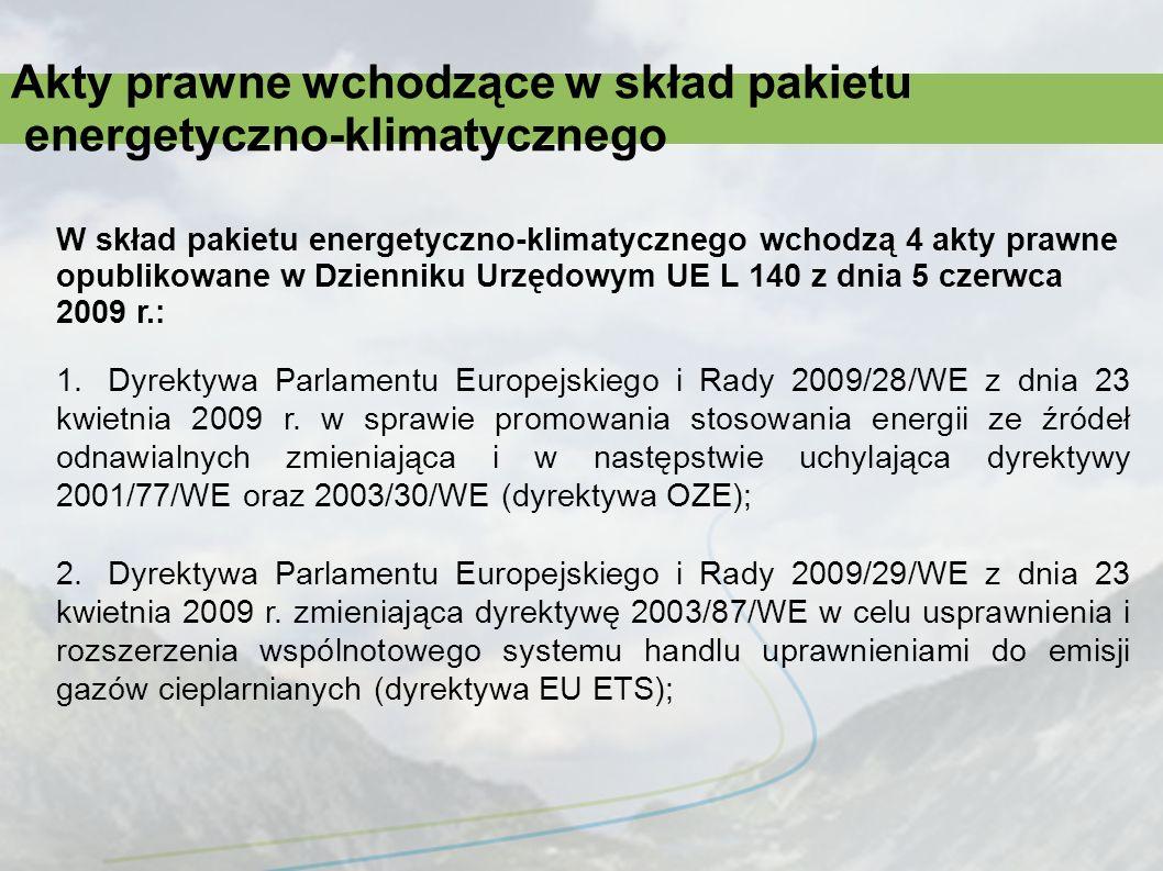 Akty prawne wchodzące w skład pakietu energetyczno-klimatycznego 3.