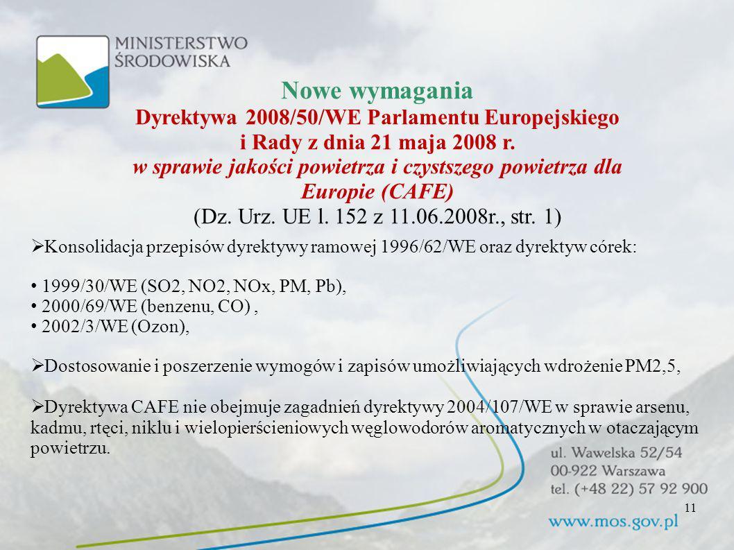 Nowe wymagania Dyrektywa 2008/50/WE Parlamentu Europejskiego i Rady z dnia 21 maja 2008 r. w sprawie jakości powietrza i czystszego powietrza dla Euro