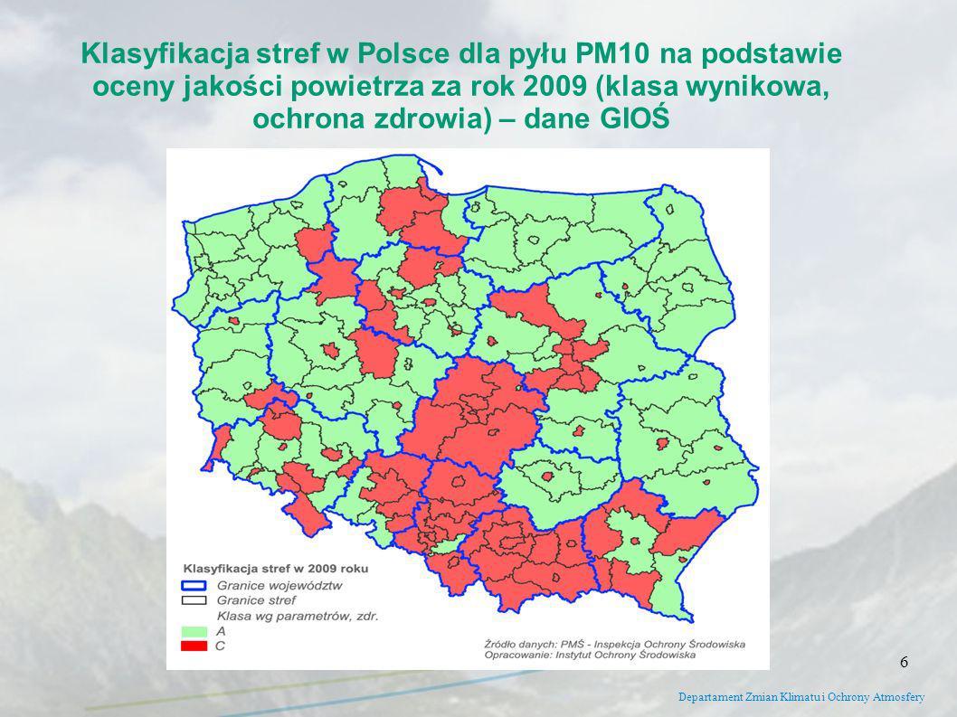 Departament Zmian Klimatu i Ochrony Atmosfery Klasyfikacja stref w Polsce dla pyłu PM10 na podstawie oceny jakości powietrza za rok 2009 (klasa wyniko