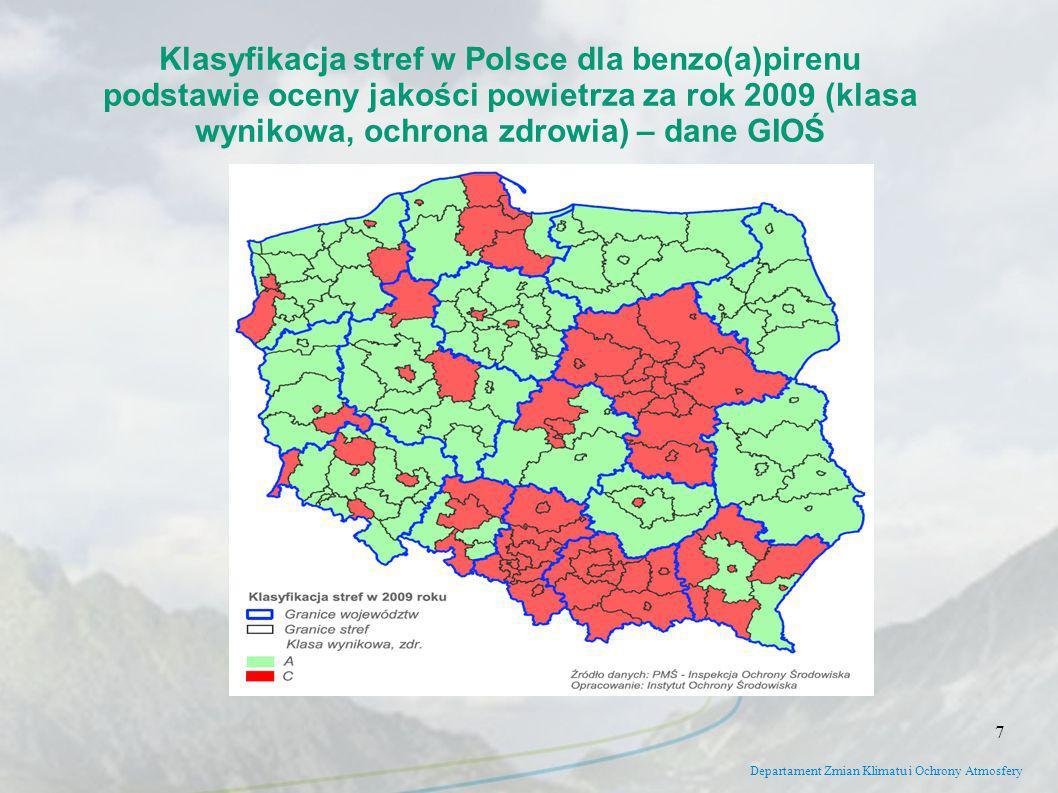 Departament Zmian Klimatu i Ochrony Atmosfery Klasyfikacja stref w Polsce dla benzo(a)pirenu podstawie oceny jakości powietrza za rok 2009 (klasa wyni