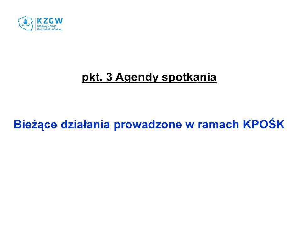 pkt. 3 Agendy spotkania Bieżące działania prowadzone w ramach KPOŚK