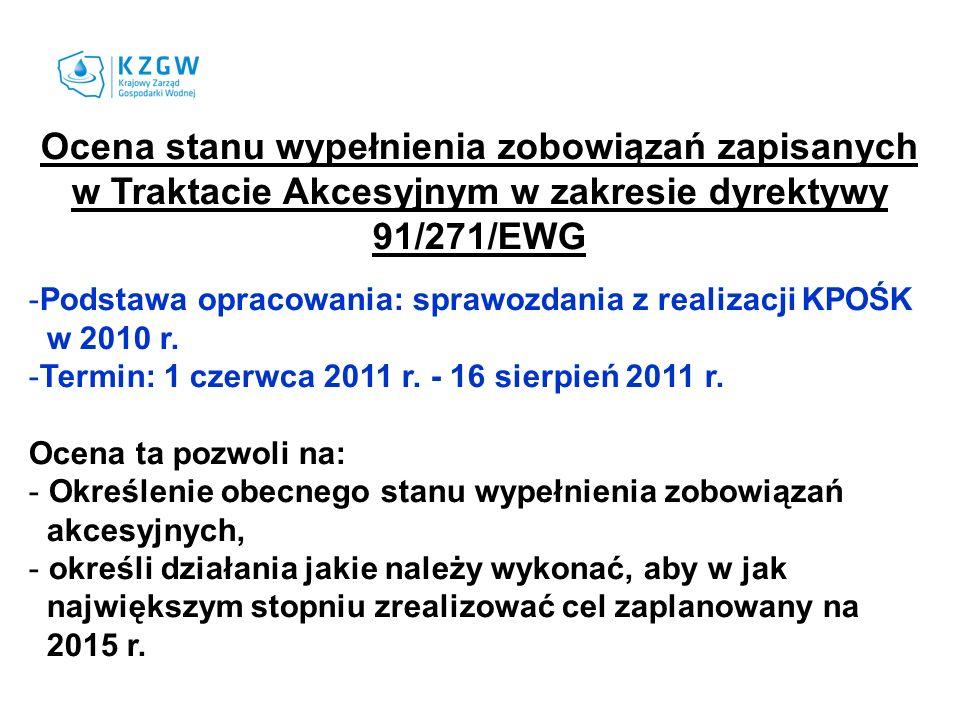 Ocena stanu wypełnienia zobowiązań zapisanych w Traktacie Akcesyjnym w zakresie dyrektywy 91/271/EWG -Podstawa opracowania: sprawozdania z realizacji KPOŚK w 2010 r.
