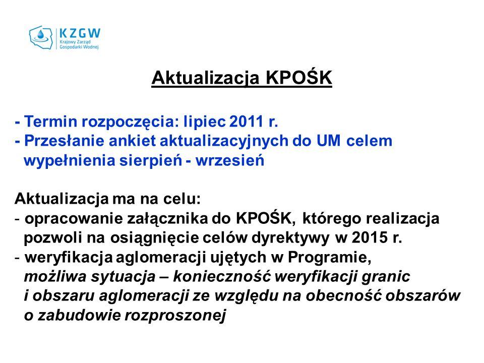 Aktualizacja KPOŚK - Termin rozpoczęcia: lipiec 2011 r.