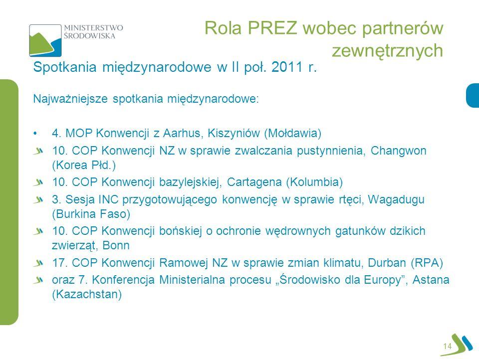 Rola PREZ wobec partnerów zewnętrznych Najważniejsze spotkania międzynarodowe: 4. MOP Konwencji z Aarhus, Kiszyniów (Mołdawia) 10. COP Konwencji NZ w