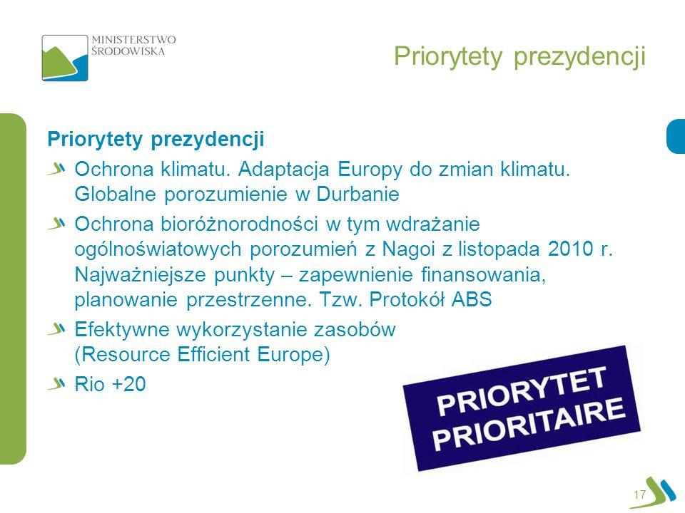 Priorytety prezydencji 17 Priorytety prezydencji Ochrona klimatu. Adaptacja Europy do zmian klimatu. Globalne porozumienie w Durbanie Ochrona bioróżno