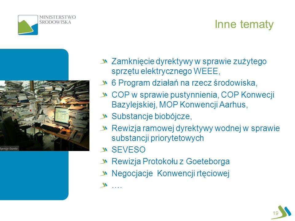 Inne tematy EAP Zamknięcie dyrektywy w sprawie zużytego sprzętu elektrycznego WEEE, 6 Program działań na rzecz środowiska, COP w sprawie pustynnienia,
