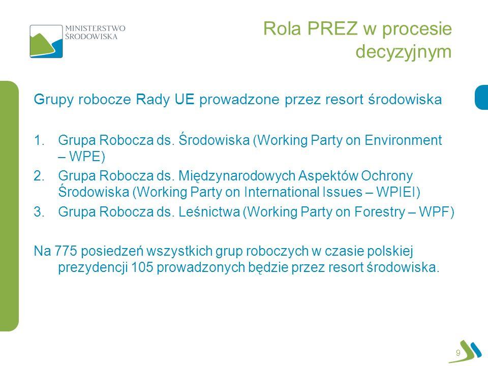 Rola PREZ w procesie decyzyjnym 1.Grupa Robocza ds. Środowiska (Working Party on Environment – WPE) 2.Grupa Robocza ds. Międzynarodowych Aspektów Ochr