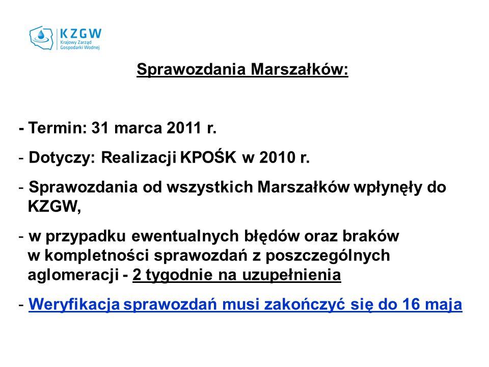 Sprawozdania Marszałków: - Termin: 31 marca 2011 r. - Dotyczy: Realizacji KPOŚK w 2010 r. - Sprawozdania od wszystkich Marszałków wpłynęły do KZGW, -
