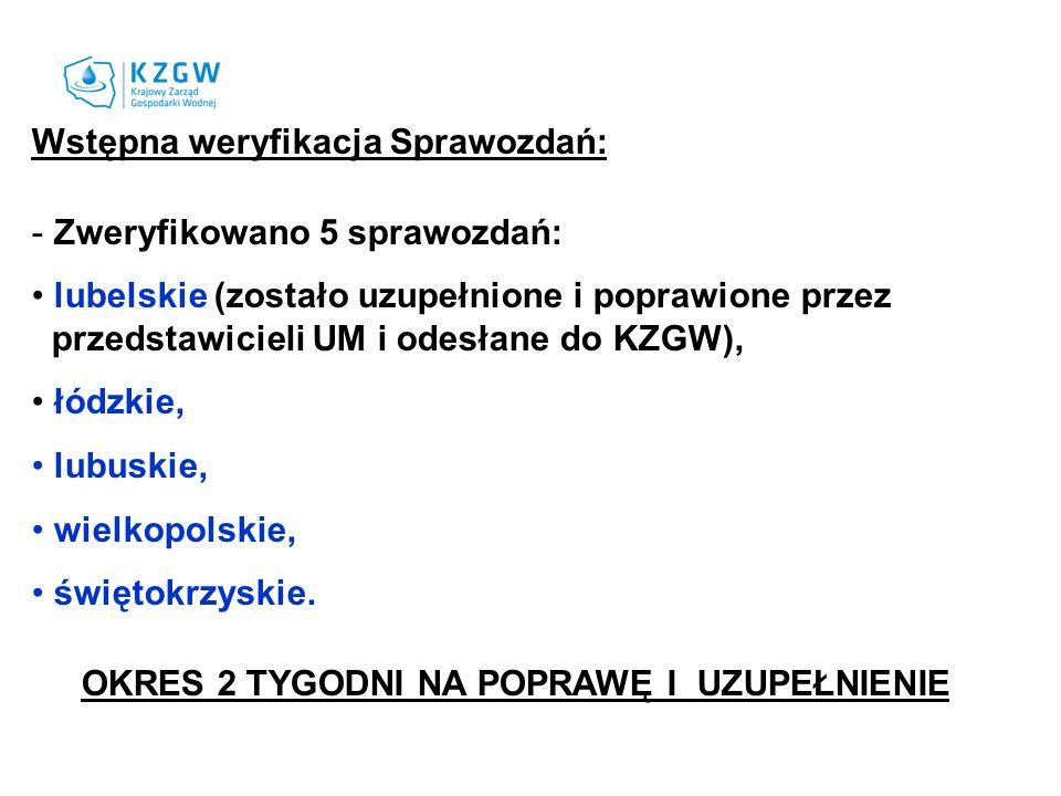 Wstępna weryfikacja Sprawozdań: - Zweryfikowano 5 sprawozdań: lubelskie (zostało uzupełnione i poprawione przez przedstawicieli UM i odesłane do KZGW)
