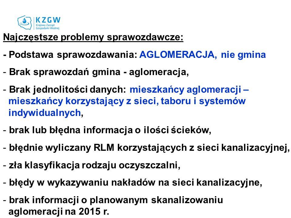 Najczęstsze problemy sprawozdawcze: - Podstawa sprawozdawania: AGLOMERACJA, nie gmina - Brak sprawozdań gmina - aglomeracja, - Brak jednolitości danyc