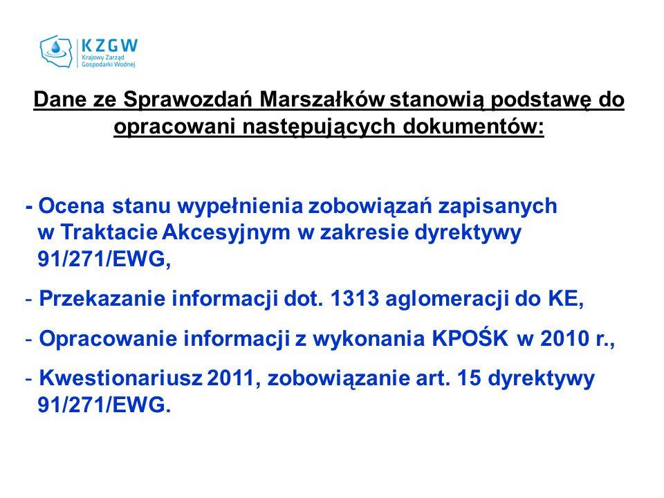 Dane ze Sprawozdań Marszałków stanowią podstawę do opracowani następujących dokumentów: - Ocena stanu wypełnienia zobowiązań zapisanych w Traktacie Ak