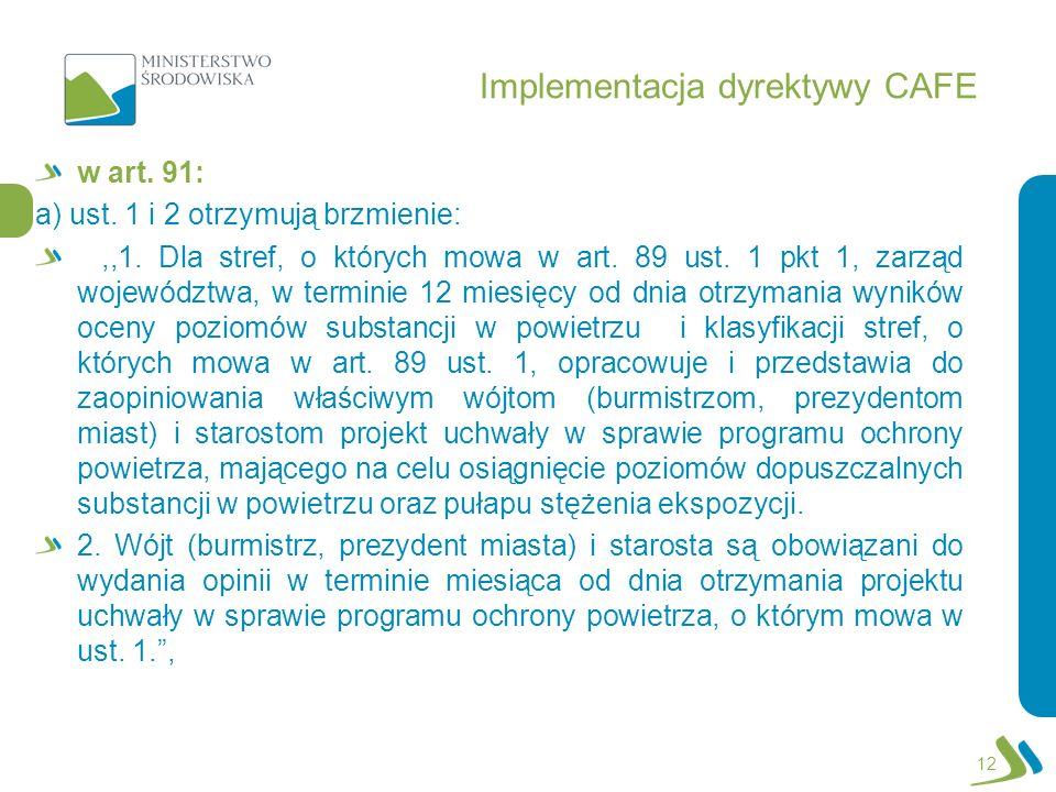 Implementacja dyrektywy CAFE w art. 91: a) ust. 1 i 2 otrzymują brzmienie:,,1. Dla stref, o których mowa w art. 89 ust. 1 pkt 1, zarząd województwa, w