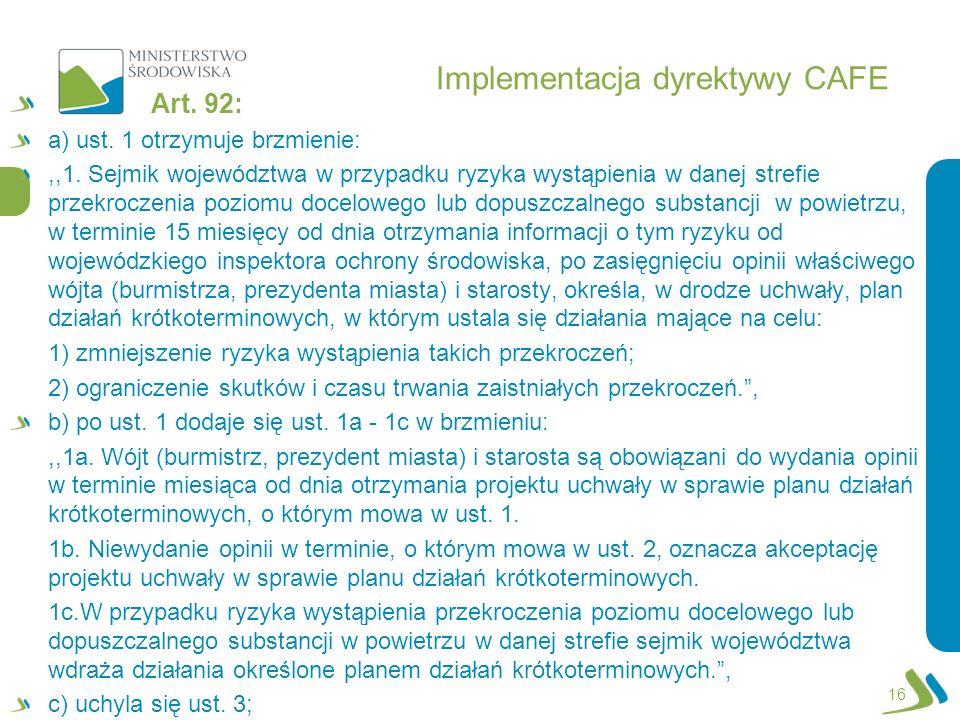 Implementacja dyrektywy CAFE Art. 92: a) ust. 1 otrzymuje brzmienie:,,1. Sejmik województwa w przypadku ryzyka wystąpienia w danej strefie przekroczen