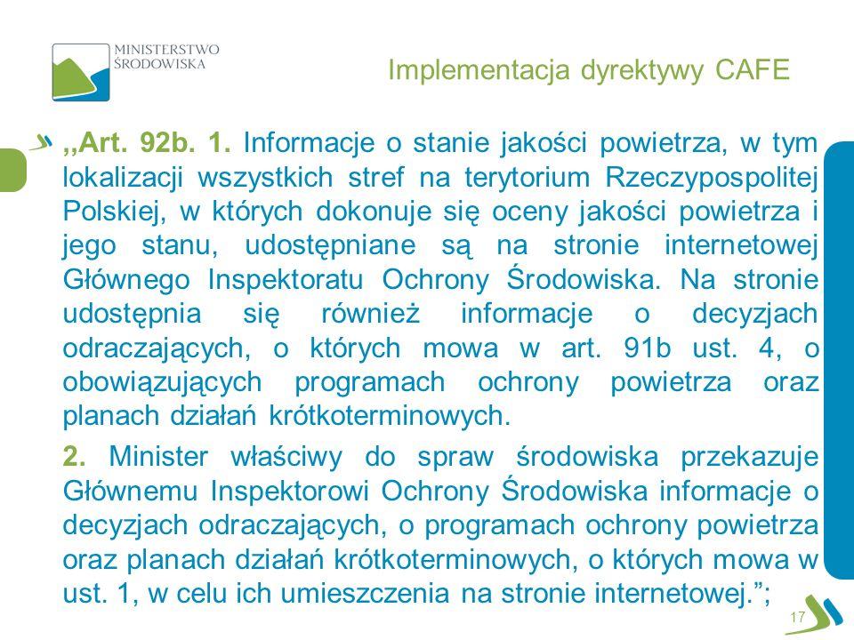 Implementacja dyrektywy CAFE,,Art. 92b. 1. Informacje o stanie jakości powietrza, w tym lokalizacji wszystkich stref na terytorium Rzeczypospolitej Po