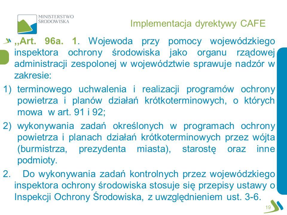 Implementacja dyrektywy CAFE,,Art. 96a. 1. Wojewoda przy pomocy wojewódzkiego inspektora ochrony środowiska jako organu rządowej administracji zespolo