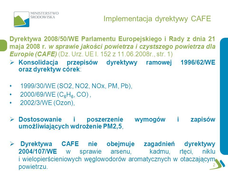 Implementacja dyrektywy CAFE Dyrektywa 2008/50/WE Parlamentu Europejskiego i Rady z dnia 21 maja 2008 r. w sprawie jakości powietrza i czystszego powi