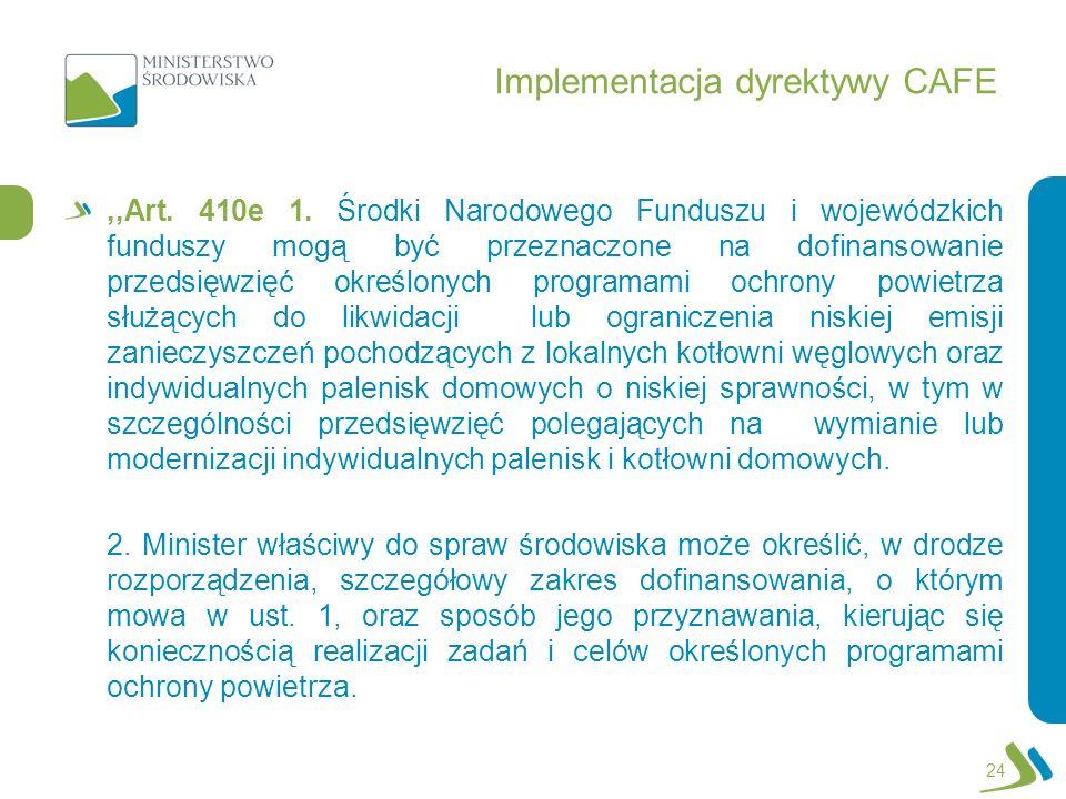 Implementacja dyrektywy CAFE,,Art. 410e 1. Środki Narodowego Funduszu i wojewódzkich funduszy mogą być przeznaczone na dofinansowanie przedsięwzięć ok