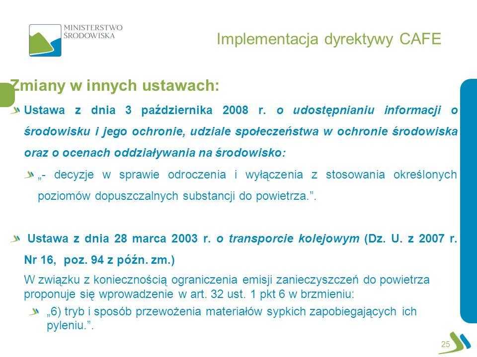 Implementacja dyrektywy CAFE Zmiany w innych ustawach: Ustawa z dnia 3 października 2008 r. o udostępnianiu informacji o środowisku i jego ochronie, u