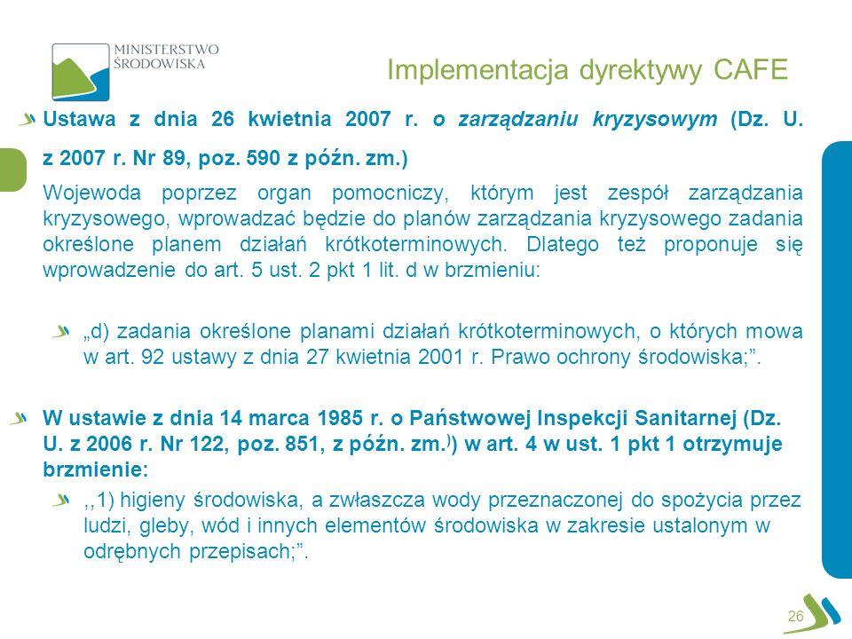 Implementacja dyrektywy CAFE Ustawa z dnia 26 kwietnia 2007 r. o zarządzaniu kryzysowym (Dz. U. z 2007 r. Nr 89, poz. 590 z późn. zm.) Wojewoda poprze