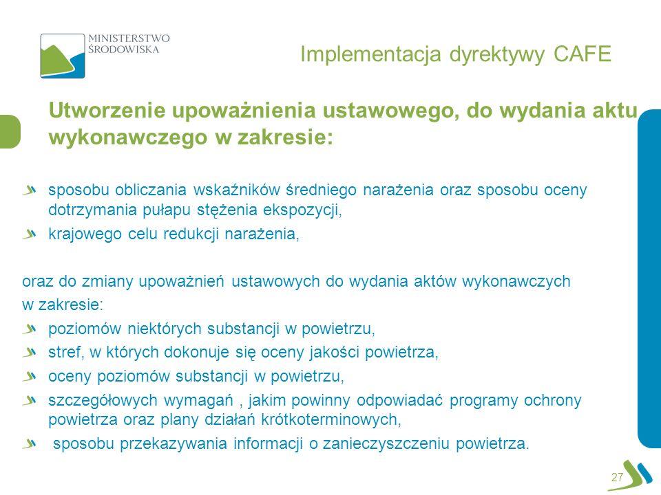 Implementacja dyrektywy CAFE Utworzenie upoważnienia ustawowego, do wydania aktu wykonawczego w zakresie: sposobu obliczania wskaźników średniego nara