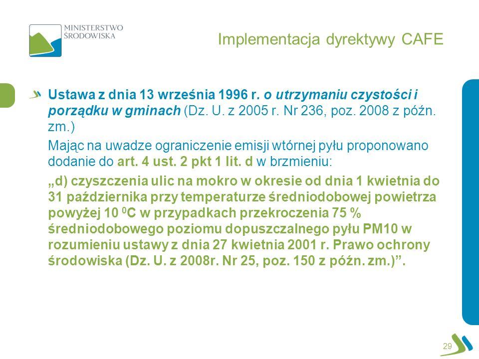 Implementacja dyrektywy CAFE Ustawa z dnia 13 września 1996 r. o utrzymaniu czystości i porządku w gminach (Dz. U. z 2005 r. Nr 236, poz. 2008 z późn.