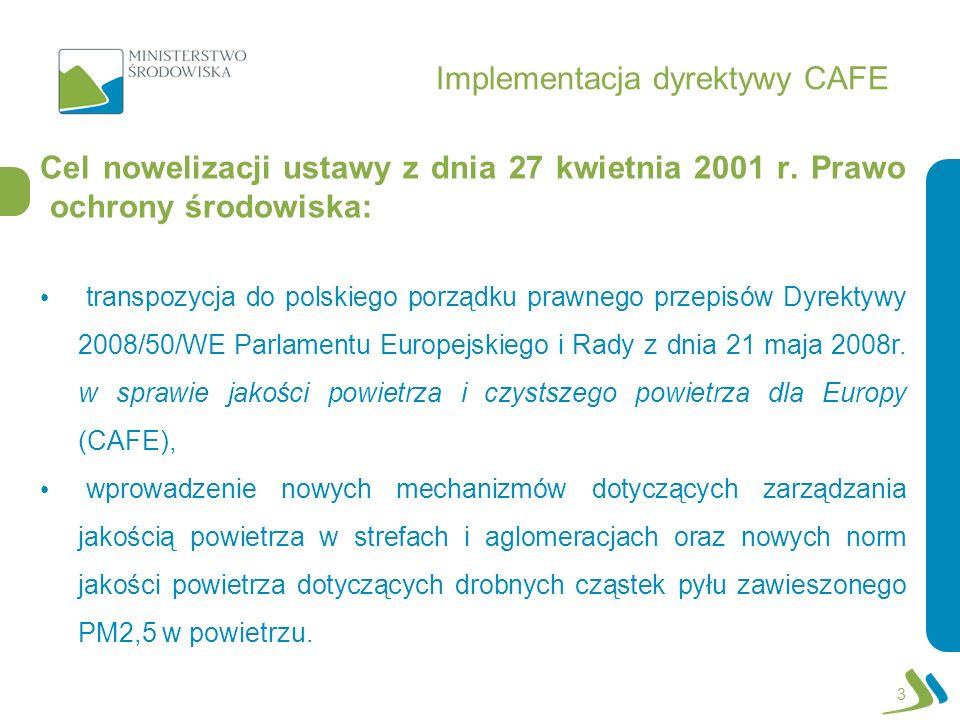 Implementacja dyrektywy CAFE Cel nowelizacji ustawy z dnia 27 kwietnia 2001 r. Prawo ochrony środowiska: transpozycja do polskiego porządku prawnego p
