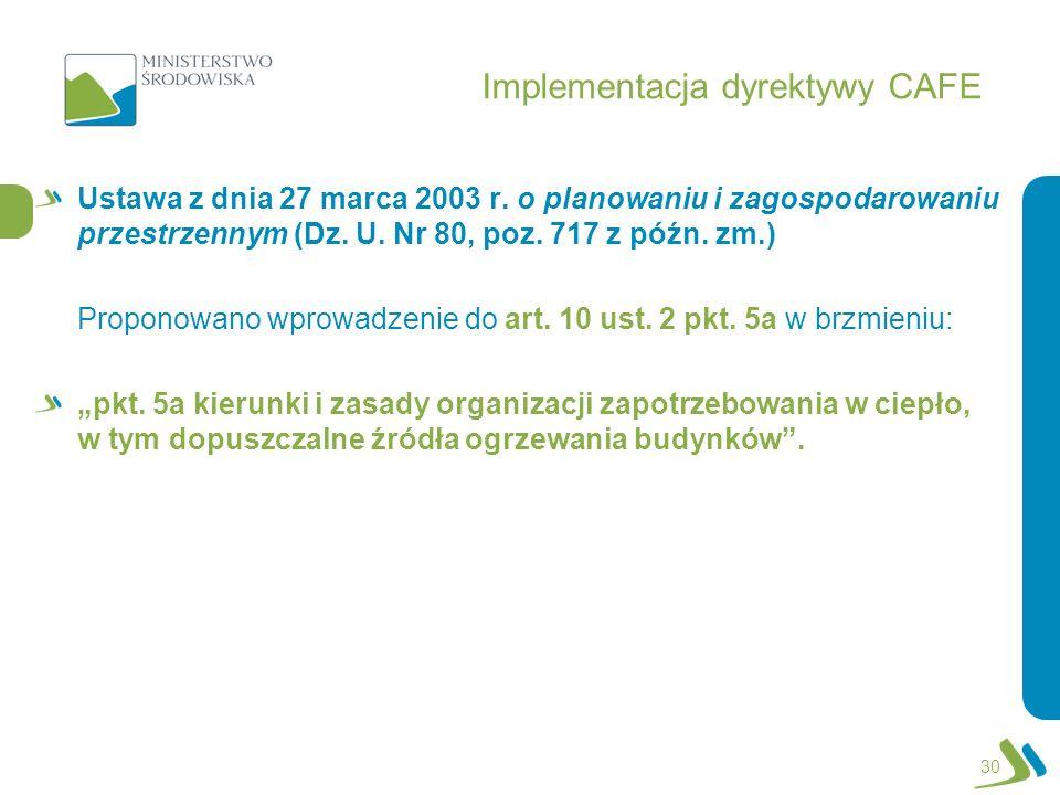 Implementacja dyrektywy CAFE Ustawa z dnia 27 marca 2003 r. o planowaniu i zagospodarowaniu przestrzennym (Dz. U. Nr 80, poz. 717 z późn. zm.) Propono