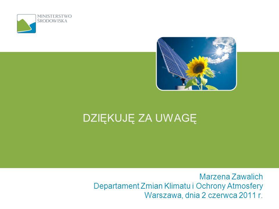 Marzena Zawalich Departament Zmian Klimatu i Ochrony Atmosfery Warszawa, dnia 2 czerwca 2011 r. DZIĘKUJĘ ZA UWAGĘ