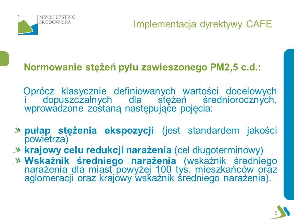 Implementacja dyrektywy CAFE Normowanie stężeń pyłu zawieszonego PM2,5 c.d.: Oprócz klasycznie definiowanych wartości docelowych i dopuszczalnych dla