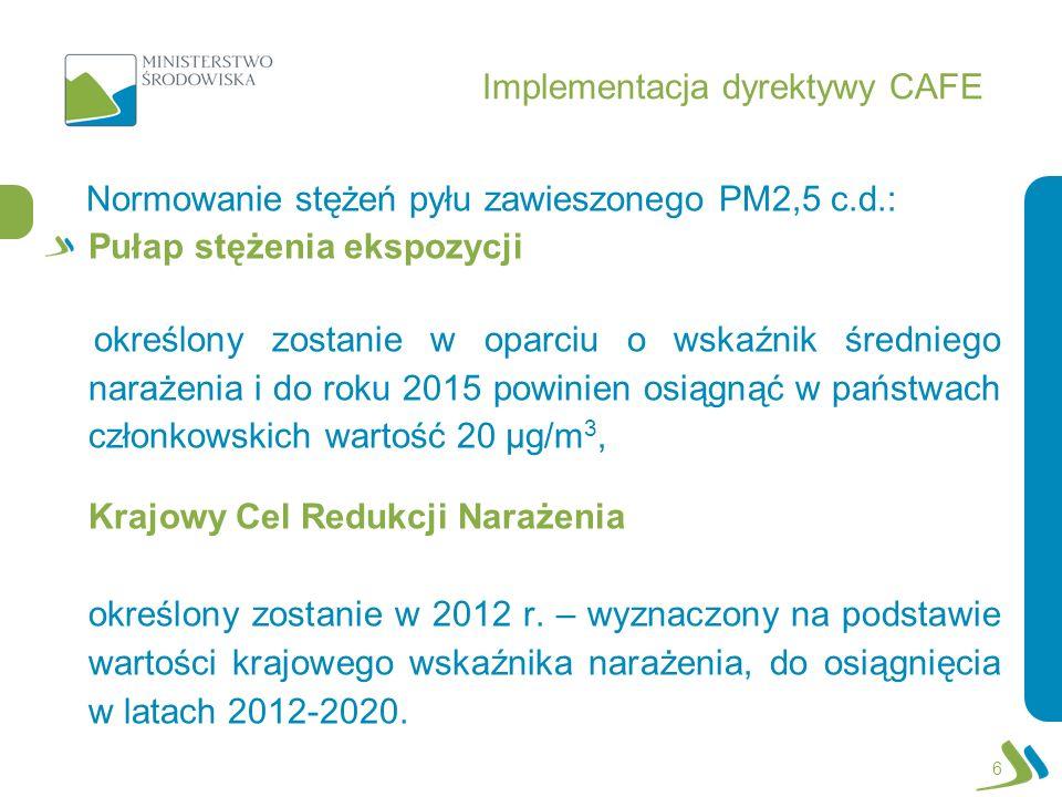 Implementacja dyrektywy CAFE Normowanie stężeń pyłu zawieszonego PM2,5 c.d.: Pułap stężenia ekspozycji określony zostanie w oparciu o wskaźnik średnie