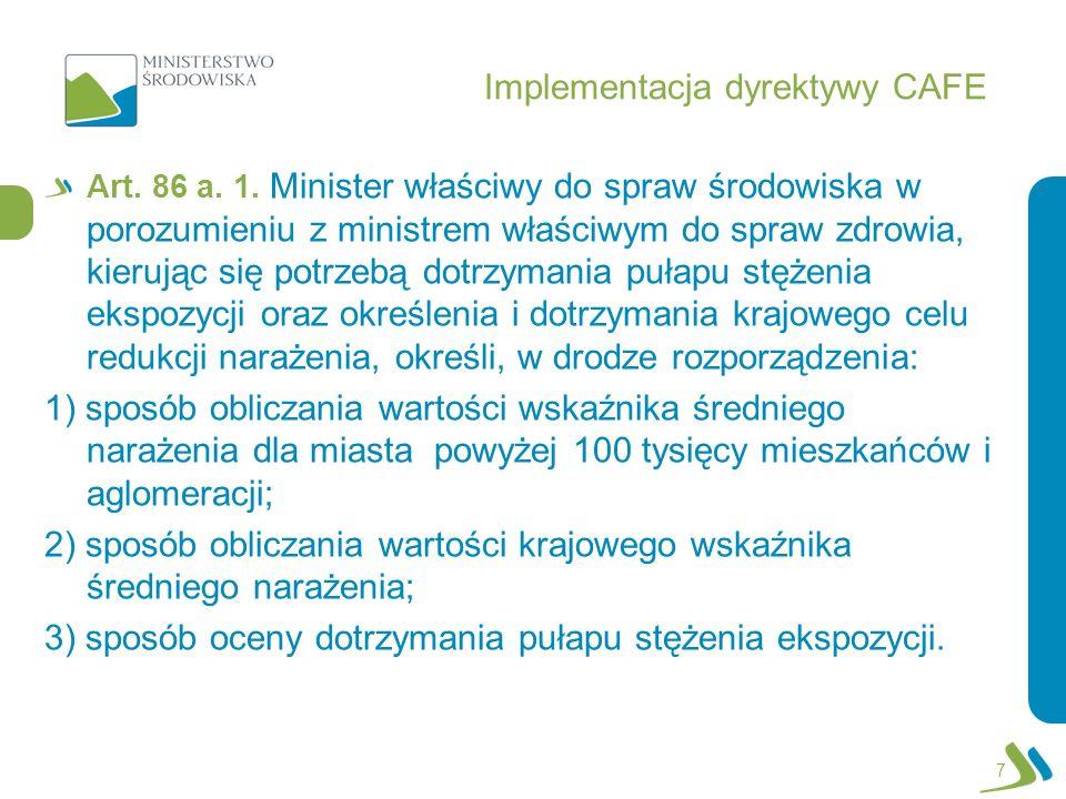 Implementacja dyrektywy CAFE Art. 86 a. 1. Minister właściwy do spraw środowiska w porozumieniu z ministrem właściwym do spraw zdrowia, kierując się p