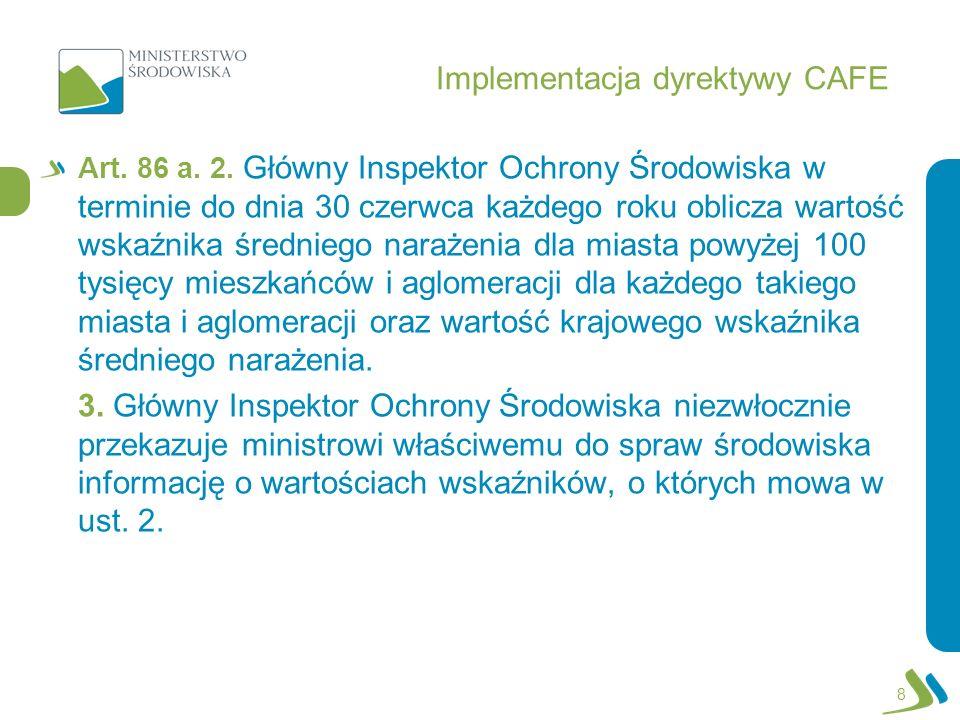 Implementacja dyrektywy CAFE Art. 86 a. 2. Główny Inspektor Ochrony Środowiska w terminie do dnia 30 czerwca każdego roku oblicza wartość wskaźnika śr
