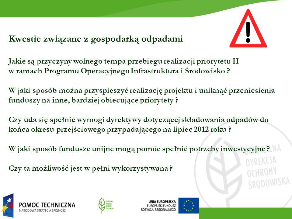 Kwestie związane z gospodarką odpadami Jakie są przyczyny wolnego tempa przebiegu realizacji priorytetu II w ramach Programu Operacyjnego Infrastruktura i Środowisko .
