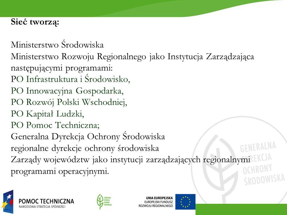 Sieć tworzą: Ministerstwo Środowiska Ministerstwo Rozwoju Regionalnego jako Instytucja Zarządzająca następującymi programami: PO Infrastruktura i Środowisko, PO Innowacyjna Gospodarka, PO Rozwój Polski Wschodniej, PO Kapitał Ludzki, PO Pomoc Techniczna; Generalna Dyrekcja Ochrony Środowiska regionalne dyrekcje ochrony środowiska Zarządy województw jako instytucji zarządzających regionalnymi programami operacyjnymi.