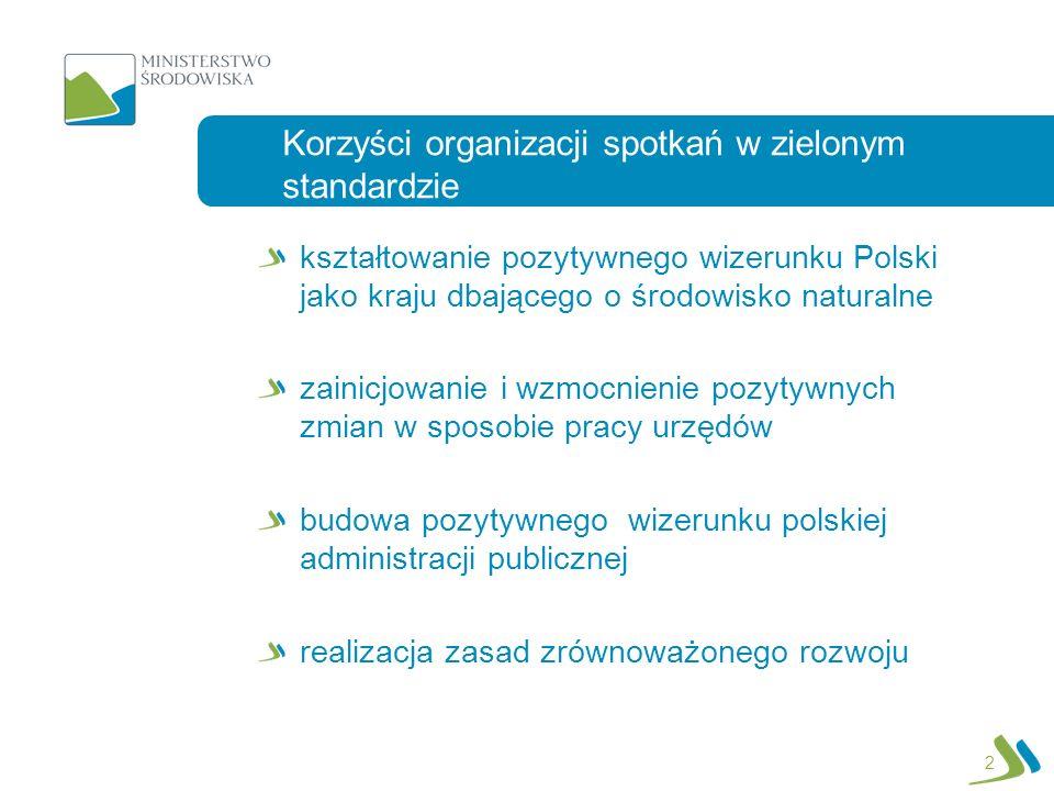2 kształtowanie pozytywnego wizerunku Polski jako kraju dbającego o środowisko naturalne zainicjowanie i wzmocnienie pozytywnych zmian w sposobie pracy urzędów budowa pozytywnego wizerunku polskiej administracji publicznej realizacja zasad zrównoważonego rozwoju Korzyści organizacji spotkań w zielonym standardzie