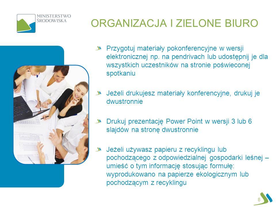 ORGANIZACJA I ZIELONE BIURO Przygotuj materiały pokonferencyjne w wersji elektronicznej np.