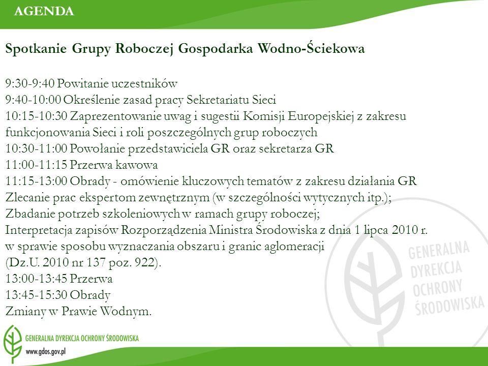 AGENDA Spotkanie Grupy Roboczej Gospodarka Wodno-Ściekowa 9:30-9:40 Powitanie uczestników 9:40-10:00 Określenie zasad pracy Sekretariatu Sieci 10:15-1