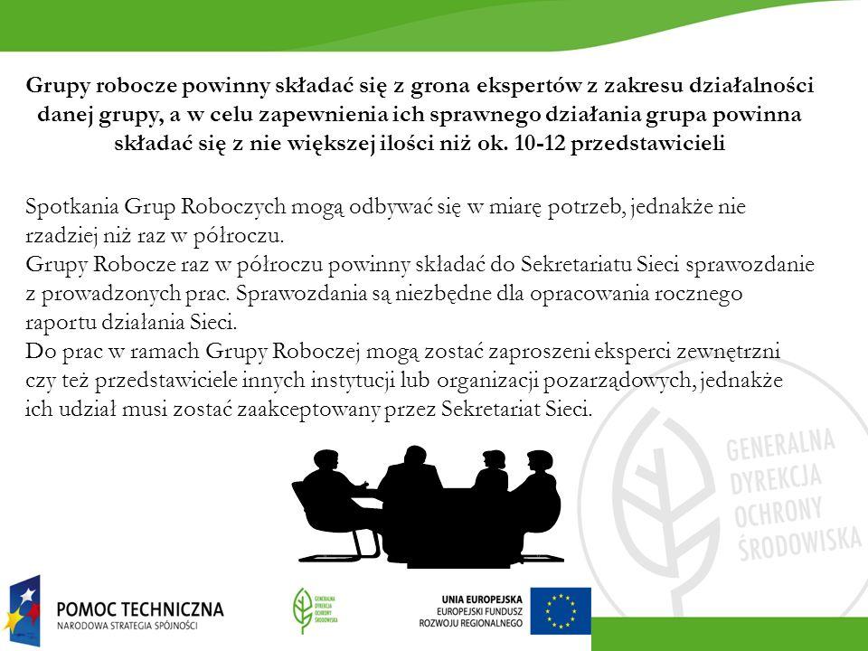 Grupy robocze powinny składać się z grona ekspertów z zakresu działalności danej grupy, a w celu zapewnienia ich sprawnego działania grupa powinna skł