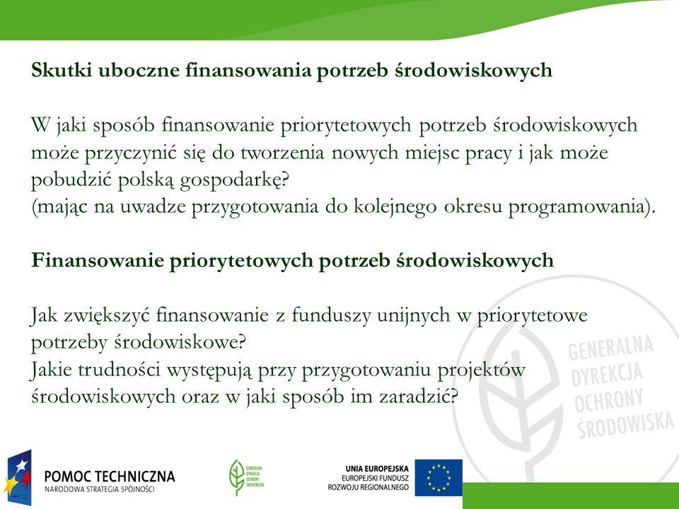Skutki uboczne finansowania potrzeb środowiskowych W jaki sposób finansowanie priorytetowych potrzeb środowiskowych może przyczynić się do tworzenia n