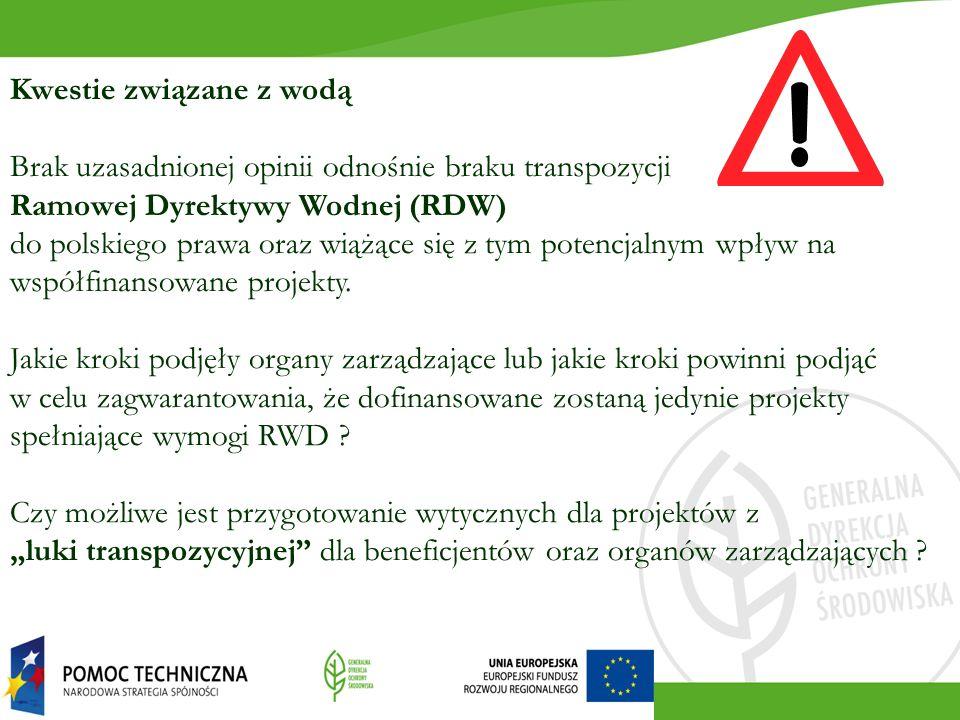 Kwestie związane z wodą Brak uzasadnionej opinii odnośnie braku transpozycji Ramowej Dyrektywy Wodnej (RDW) do polskiego prawa oraz wiążące się z tym