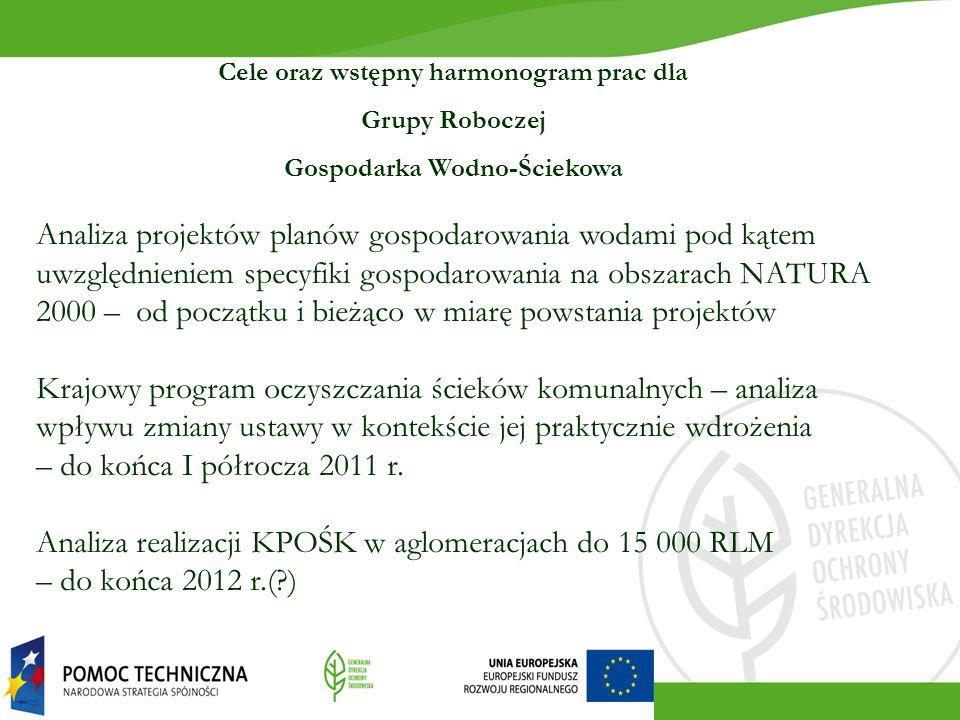 Cele oraz wstępny harmonogram prac dla Grupy Roboczej Gospodarka Wodno-Ściekowa Analiza projektów planów gospodarowania wodami pod kątem uwzględnienie