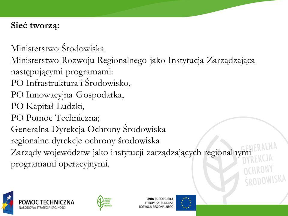 Sieć tworzą: Ministerstwo Środowiska Ministerstwo Rozwoju Regionalnego jako Instytucja Zarządzająca następującymi programami: PO Infrastruktura i Środowisko, PO Innowacyjna Gospodarka, PO Kapitał Ludzki, PO Pomoc Techniczna; Generalna Dyrekcja Ochrony Środowiska regionalne dyrekcje ochrony środowiska Zarządy województw jako instytucji zarządzających regionalnymi programami operacyjnymi.