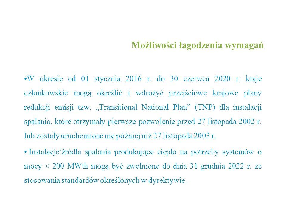 Możliwości łagodzenia wymagań W okresie od 01 stycznia 2016 r. do 30 czerwca 2020 r. kraje członkowskie mogą określić i wdrożyć przejściowe krajowe pl