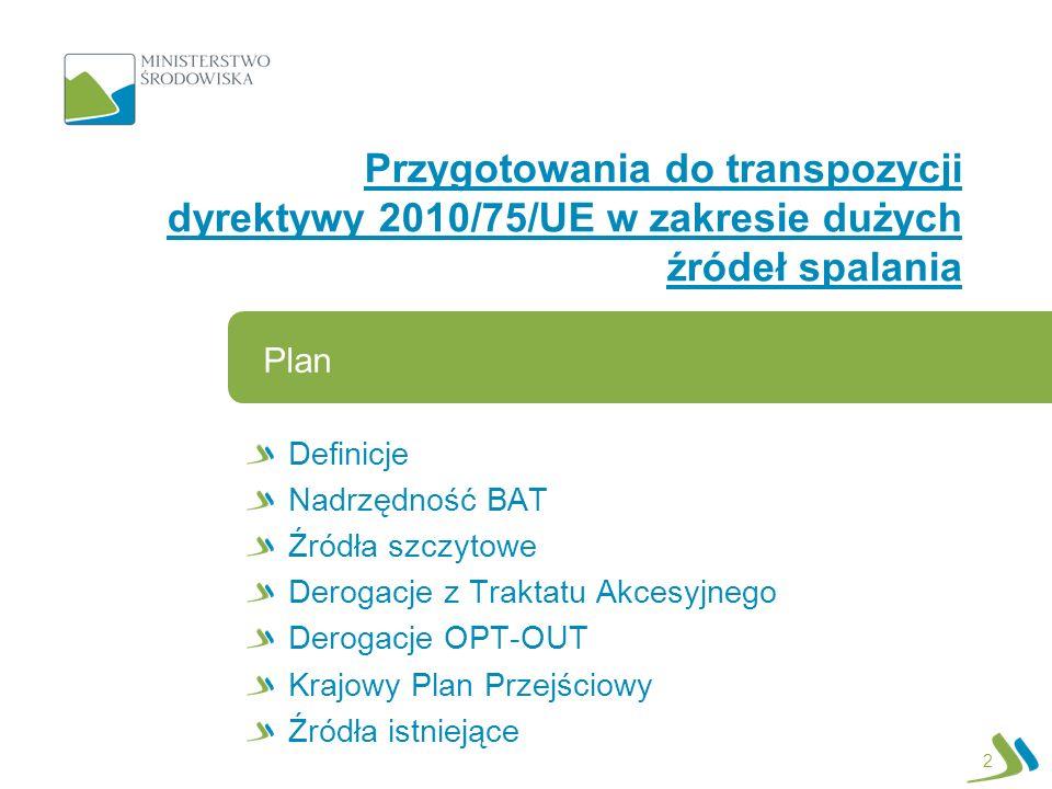 Definicje Nadrzędność BAT Źródła szczytowe Derogacje z Traktatu Akcesyjnego Derogacje OPT-OUT Krajowy Plan Przejściowy Źródła istniejące Plan Przygoto