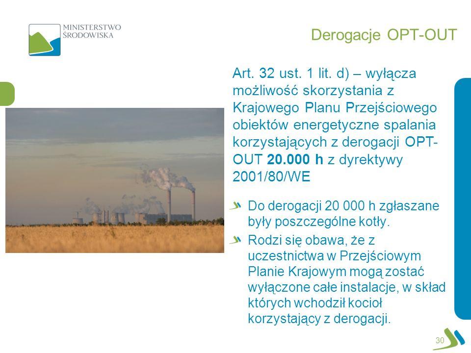 Derogacje OPT-OUT Do derogacji 20 000 h zgłaszane były poszczególne kotły. Rodzi się obawa, że z uczestnictwa w Przejściowym Planie Krajowym mogą zost