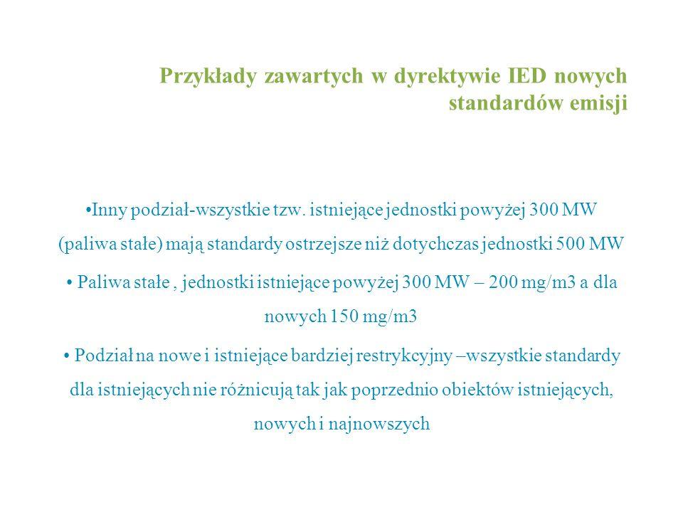 Przykłady zawartych w dyrektywie IED nowych standardów emisji Inny podział-wszystkie tzw. istniejące jednostki powyżej 300 MW (paliwa stałe) mają stan